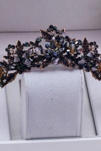 Nowa korona złoty kolor szare cyrkonie diadem tiara królowa ślub wróżka elf