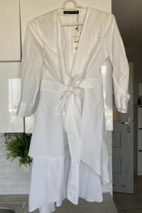 Zara nowa biała koszula długa asymetryczna minimalizm