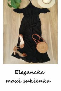 Czarna długa sukienka maxi S zwiewna falbany...