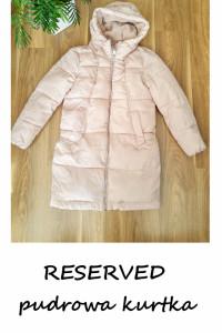Pudrowa kurtka zimowa Reserved L pudrowy róż...