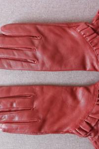 Czerwone rękawiczki skórzane Lindex