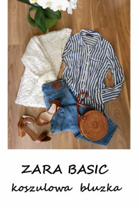 Elegancka koszulowa bluzka w paski Zara Basic S wiskoza minimalizm basic