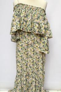 Sukienka Long Maxi Kwiaty NOWA Dłuższy Tył Mango S 36 Jedno Ram...