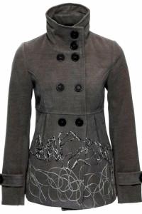 Szara flauszowa kurtka ze stójką i haftem rozmiar 40