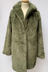 Płaszcz Nowy Futerko Misiek M 38 Khaki Zielone Zimowe