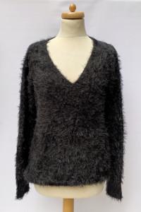 Sweter Czarny Włochaty Ellos 42 44 XL XXL Oversize Czerń