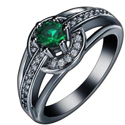 Pierścionki Nowy pierścionek czarny zielone małe oczko białe cyrkonie retro goth dark