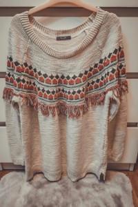 Damski sweter frędzle XL XXL