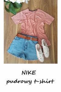 Nike run sportowa pudrowa koszulka t shirt pudrowy róż L