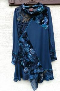 Asymetryczna sukienka tunika łączone materiały boho...