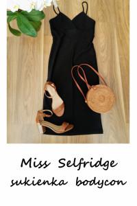 Elegancka mała czarna Miss Selfridge S M midi sukienka bodycon...