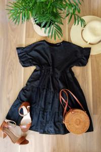 Czarna wyszywana sukienka Boohoo S M baby doll...
