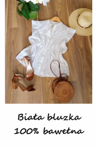 Biała bawełniana bluzka bawełna 42 44 basic minimalizm