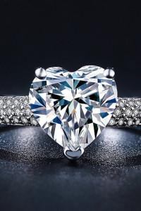 Nowy pieścionek srebrny kolor posrebrzany biała cyrkonia serce duży kamień