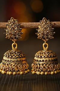 Nowe kolczyki indyjskie jhumka boho hippie etno złote dzwony orientalne