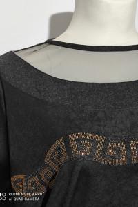 Bluzka damska czarna logowana