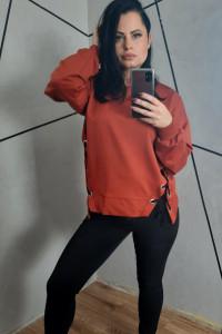 Bluza wiązana cegła ruda