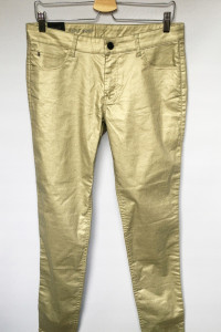 Spodnie Złote Woskowane NOWE 30 L 40 2NDDAY Skinny