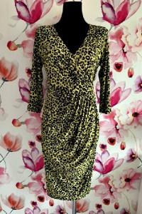 city goddess london sukienka ołówkowa panterka nowa neonowa 38