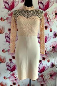 I x london sukienka morelowa koronka ołówkowa hit 36