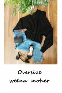 Wełniany czarny oversize luźny sweter basic minimalizm półgolf S M L XL