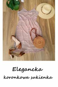 Koronkowa sukienka L XL liliowy brudny róż elegancka na ramiączkach