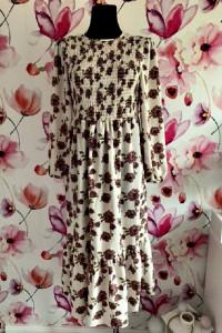 primark sukienka maxi modny wzór kwiaty kwiecista jak nowa 38