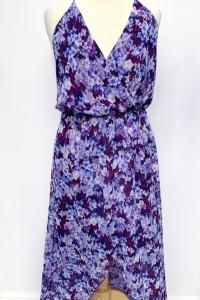 Sukienka Fioletowa Bik Bok M 38 Kwiaty Asymetryczna