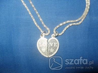 Naszyjniki Dwie połówki serca z łańcuszkami