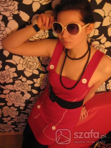 Retro czerwona dzianinowa sukienka/tunika