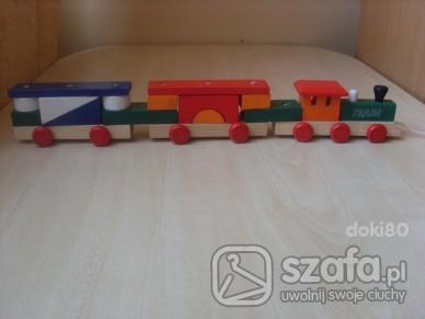 Zabawki drewniana lokomotywa z wagonami