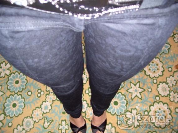 Spodnie czarne panterkowe jeansy leginsy