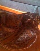brązowa wężowa torebka