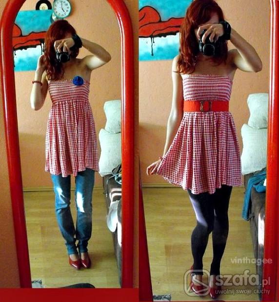 Mój styl Czerwona tunika obrusowa