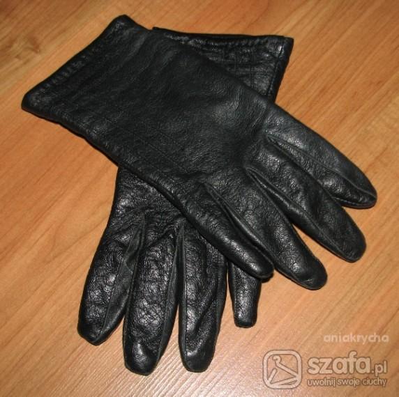 Rękawiczki Skórzane czarne rękawiczki