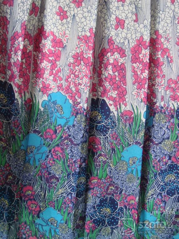 Mój styl Spódnica vintage plisowana z kwiatkami niebieskimi