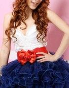 Krótka niebiesko biła sukienka z falbankami