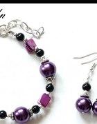 Fioletowy komplecik z masą perłową