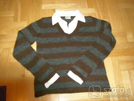 Do pracy sweter w paski z bialym kolnierzykiem firmy NEXT