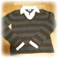 sweter w paski z bialym kolnierzykiem firmy NEXT