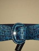 Kobaltowy wężowa skóra pasek na gumie z Anglii