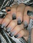 Brokatowe czarno srebrne