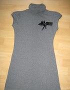 Szara tunika sukienka z aplikacją