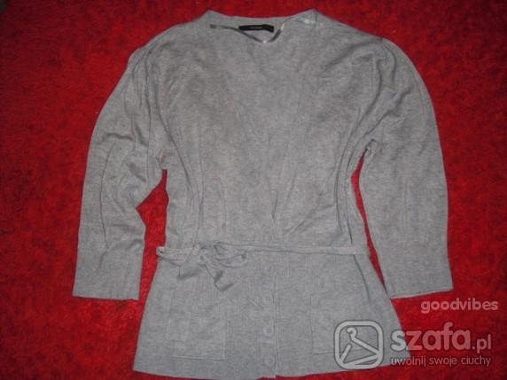 Swetry piękny szary kardigan kieszonki