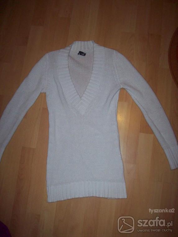 Swetry Świetny sweter LONG biały S kordian
