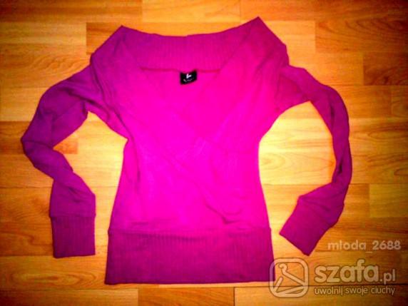 Swetry różowy MEGA DEKOLT
