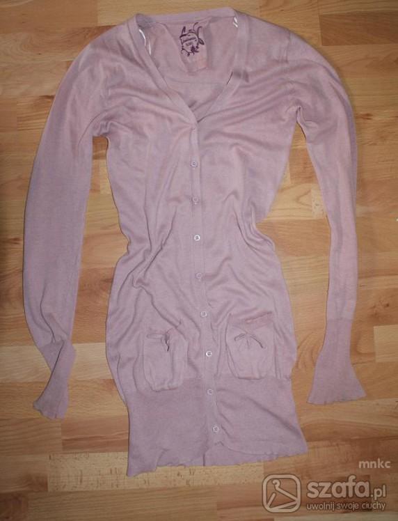 Swetry Różowy długi kardigan