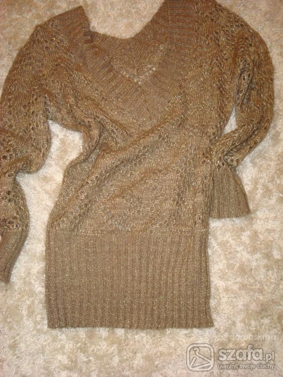 Swetry Ażurowy złoty sweterek