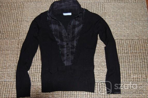 Swetry Czarny sweterek z koszula