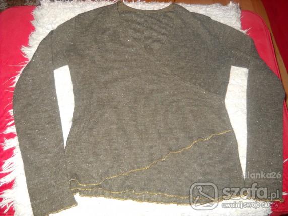 Swetry ELEGANCKI SWETEREK ZE ZŁOTĄ NITKĄ
